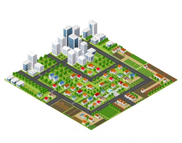 Casas isométricas, rascacielos, parques y árboles.