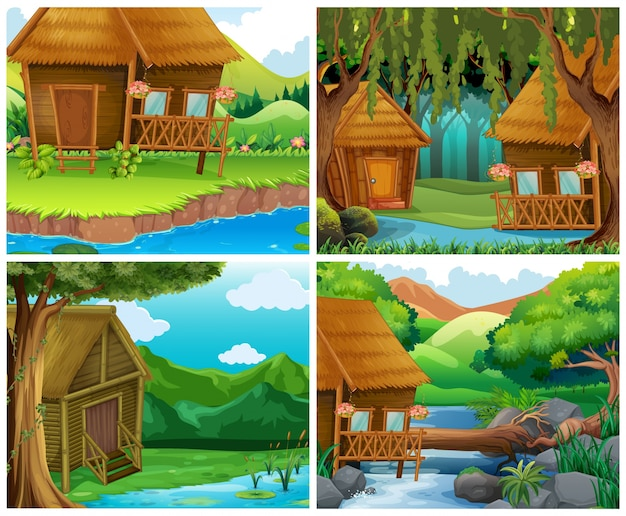 Casas de madera en el bosque