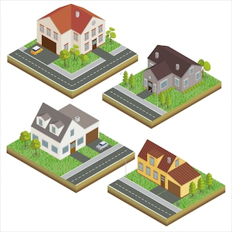 Casas modernas hogar moderno. concepto isométrico. bienes raíces. cabaña. casa isométrica. icono de la computadora estilo escandinavo moderno