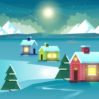 Casas y montañas de noche de invierno. viaje de montaña de hielo al aire libre, asentamiento o aldea a la luz de la luna, pico y luna. ilustración vectorial