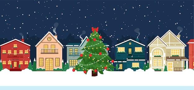 Casas de navidad de invierno vista frontal de edificios cubiertos de nieve