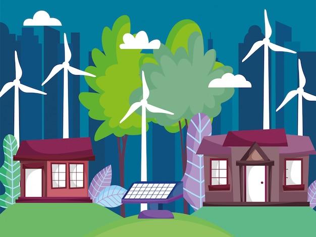 Casas y paisaje urbano con aerogenerador y panel solar.