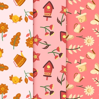 Casas de pájaros y flores patrón de primavera dibujado a mano