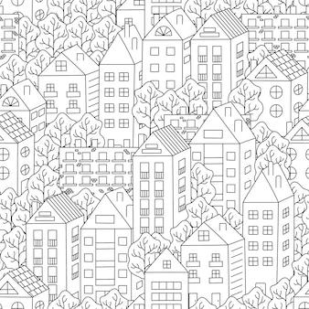 Casas de pueblo y árboles de fondo sin fisuras