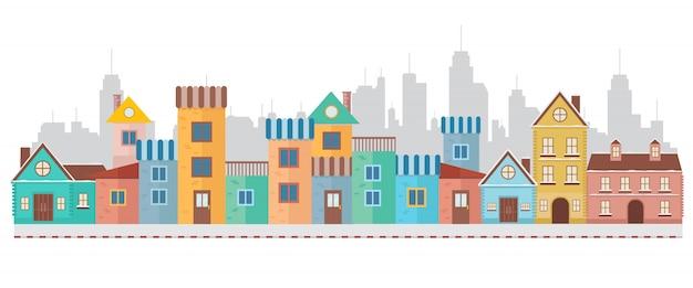 Casas de pueblo modernas y coloridas en la ciudad.