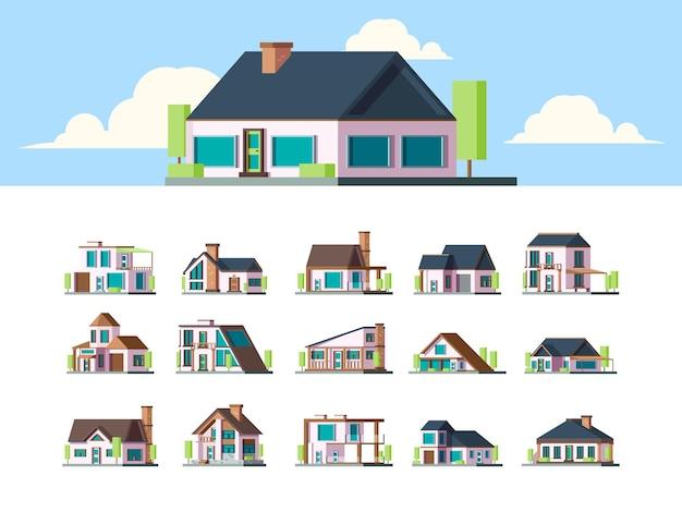 Casas residenciales. edificios de casas suburbanas, apartamentos de campo, propiedad plana, conjunto exterior de vida moderna. casa diferente, ilustración de edificio de colección de cabaña arquitectónica