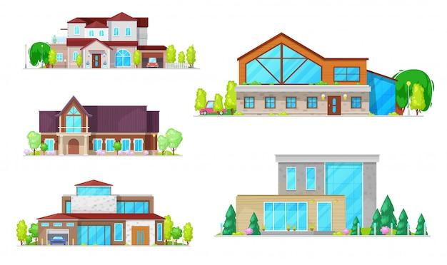 Casas residenciales, villas y edificios de mansiones.