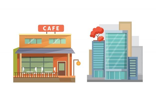 De casas retro y modernas de la ciudad. edificios antiguos, rascacielos. colorido edificio de cabañas, cafetería.