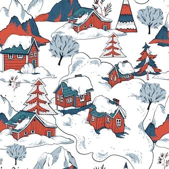Casas rojas de invierno cubiertas de nieve en patrones sin fisuras de estilo escandinavo