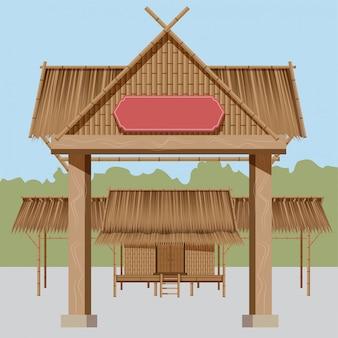 Casas rurales tailandesas, techos de paja de hay una entrada al pueblo que es adecuada para la exhibición de eventos populares.