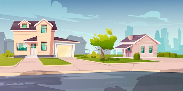 Casas suburbanas, cabaña con garaje