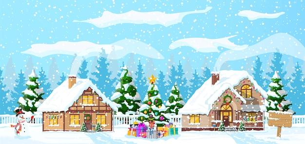 Casas suburbanas cubiertas de nieve. edificio en adorno navideño. abeto de árbol de paisaje de navidad, muñeco de nieve. feliz año nuevo decoración. feliz navidad. celebración de navidad de año nuevo. ilustración