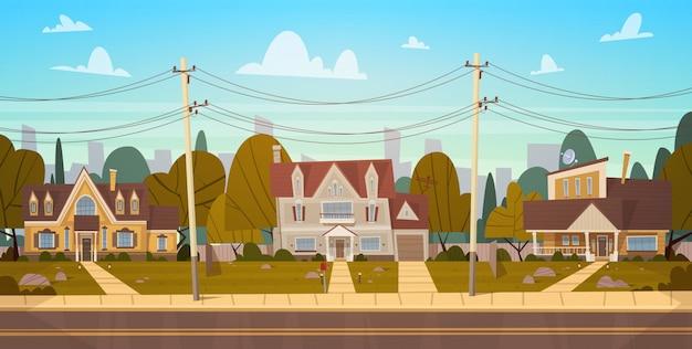 Casas en el suburbio de la gran ciudad en verano, cottage real estates cute town concept