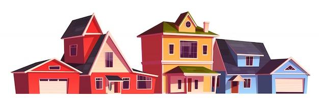 Casas de suburbios, cabañas residenciales, bienes raíces