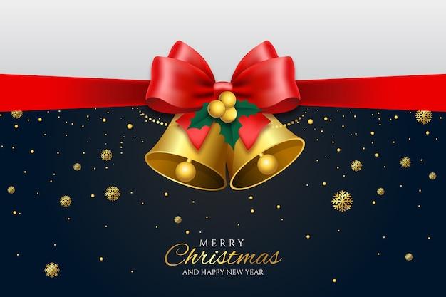 Cascabeles de navidad y fondo de cinta