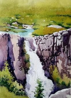 Cascada de acuarela dibujada a mano en la ilustración de paisaje de cueva