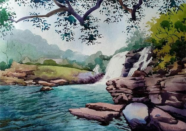 Cascada de acuarela dibujada a mano en la ilustración de paisaje forestal