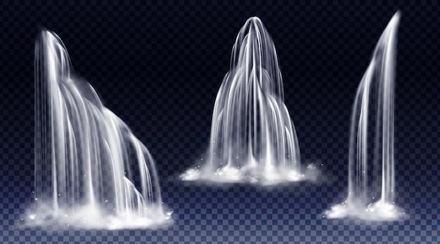 Cascada cascada realista conjunto de corrientes de caída de agua