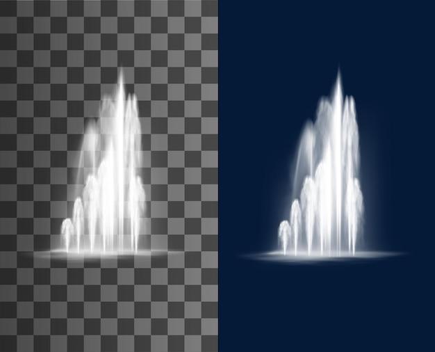 Cascada de la fuente, chorros de agua vector flujo de corrientes