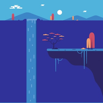 Cascada plana con acantilado