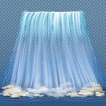 Cascada realista con agua limpia azul y piedras