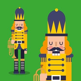 Cascanueces de dibujos animados con trompeta
