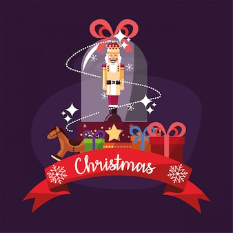 Cascanueces feliz navidad dentro de la esfera