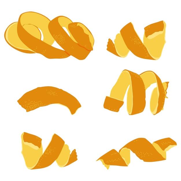 Cáscara de naranja, conjunto de dibujos animados de vector de ralladura aislado en un fondo blanco.