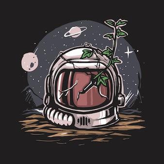 Casco de astronauta abandonado