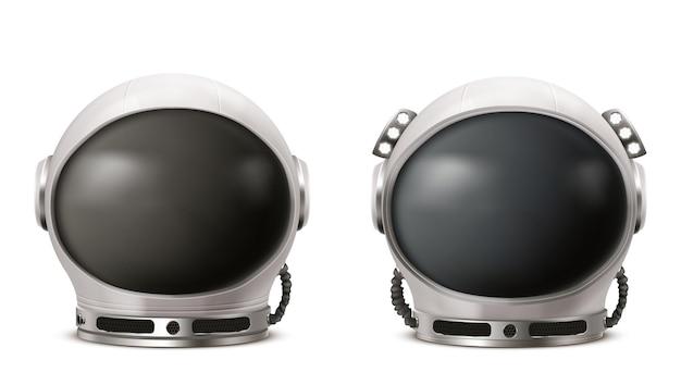 Casco de astronauta cosmonauta traje espacial aislado en blanco