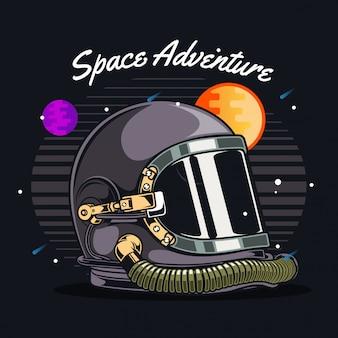 Casco de astronauta en el espacio