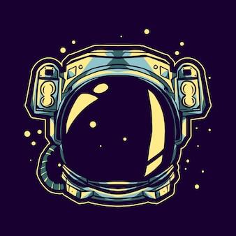 Casco de astronauta flotando en el diseño de ilustración espacial