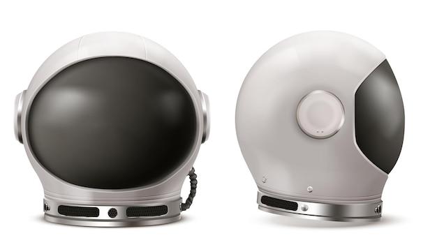 Casco de astronauta con vidrio negro en la vista frontal y lateral.
