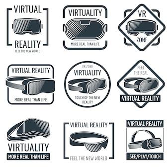 Casco futurista de realidad virtual con logos de auriculares. vr gafas de montaje en la cabeza de etiquetas vectoriales