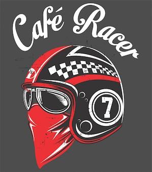 Casco de motociclista, con tex cafe racer.vector dibujo a mano