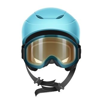 Casco protector vector azul con gafas naranjas para esquiar, hacer snowboard y otros deportes de invierno vista frontal aislado sobre fondo blanco.