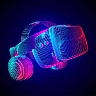 Casco de realidad virtual. casco de vr abstracto con gafas y auriculares. ilustración de esquema del concepto de tecnología futura de realidad aumentada en estilo de arte de línea en neón