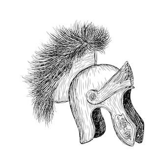 Un casco retro con ilustración de armadura.