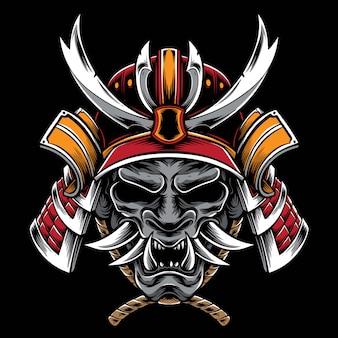 Casco samurai con máscara hannya