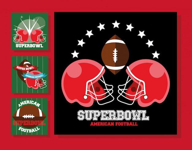 Cascos deportivos de fútbol americano y globo