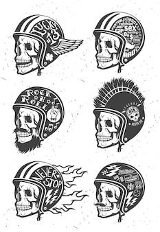 Cascos de dibujo hechos a mano con temática de motocicleta con calavera. conjunto de cascos.
