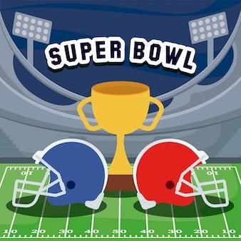 Cascos de fútbol americano y trofeo sobre campo