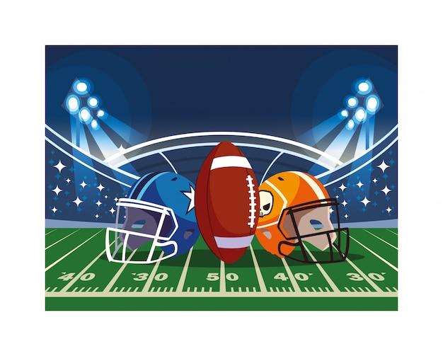 Cascos y pelota de fútbol americano en el estadio