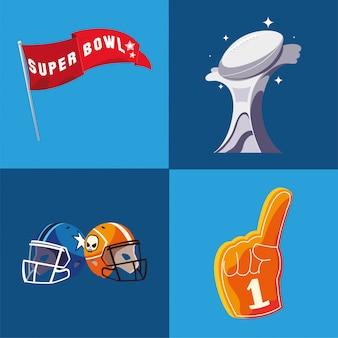 Cascos de trofeo de bandera de super bowl e ilustración de guante