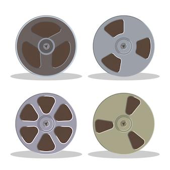 Casete de audio de bobina retro. icono de almacenamiento de música de estilo vintage. antigua cinta tocadiscos.