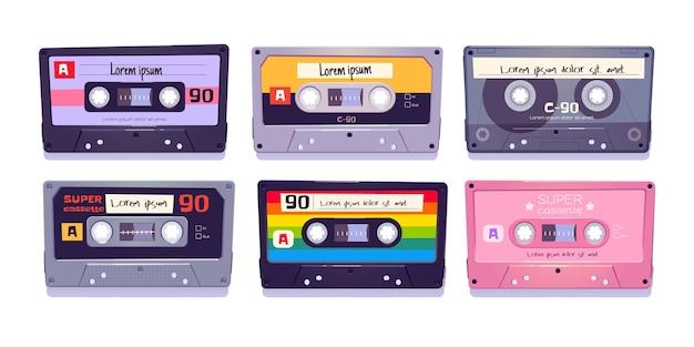 Casetes de audio, cintas retro, almacenamiento multimedia para música y sonido aislado