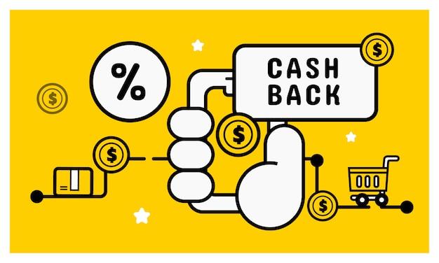 Cash back concepto de compras en línea.