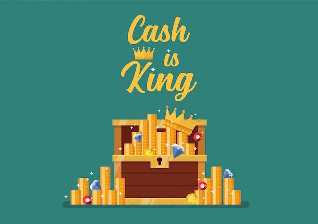Cash is king tipografía con cofre abierto lleno de tesoros.