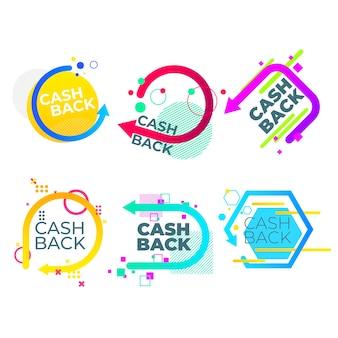 Cashback etiquetas diseño geométrico