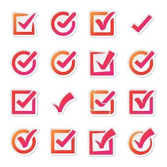 Casilla de verificación vector iconos conjunto de vectores